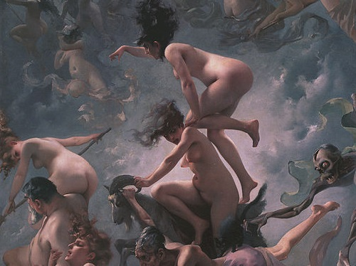 'Witches going to their Sabbath (1878) by Luis Ricardo Falero [Public domain], via Wikimedia Commons: https://commons.wikimedia.org/wiki/File:Witches_going_to_their_Sabbath_(1878),_by_Luis_Ricardo_Falero.jpg